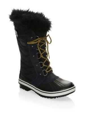 Sorel Tofino Canvas And Faux Fur Boots