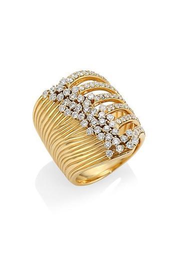 Hueb Plisse 18k Yellow Gold & Diamond Ring