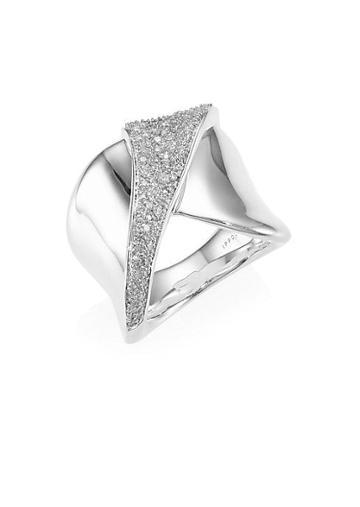 Ippolita Stardust Sterling Silver & Diamond Folded Pave Ribbon Ring
