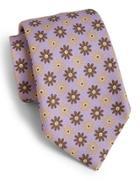 Isaia Floral Print Silk Tie