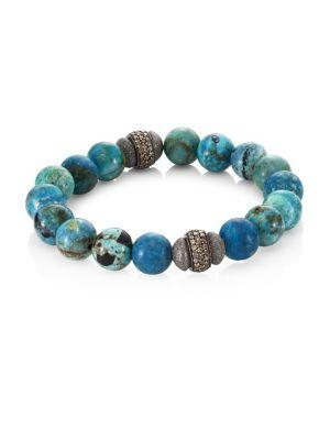 Bavna Agate & Diamond Bead Bracelet