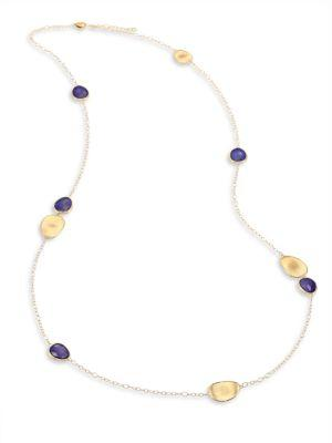 Marco Bicego Lunaria Lapis & 18k Yellow Gold Long Chain Necklace