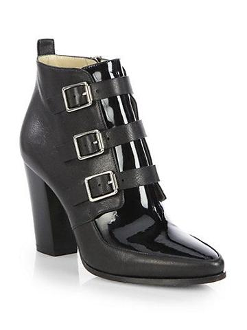 Jimmy Choo Hutch Leather Buckle Ankle Boots