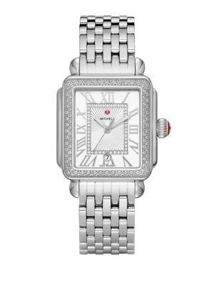 Michele Watches Deco Madison Diamond Stainless Steel Bracelet Watch