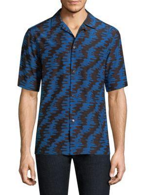 Salvatore Ferragamo Wave-print Silk Casual Button-down Shirt