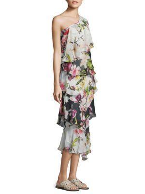 Rococo Sand Floral Silk One-shoulder Dress