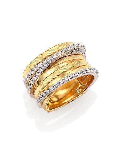 Marco Bicego Goa Diamond, 18k Yellow & White Gold Seven-row Ring