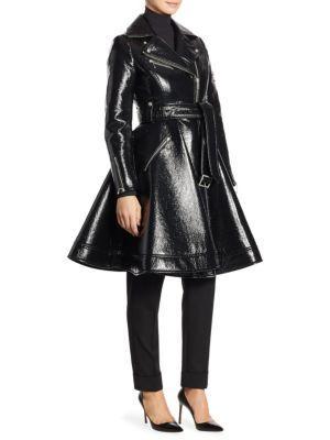 Sara Battaglia Belted Faux Leather Biker Coat
