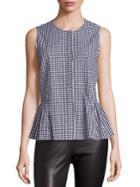 Saks Fifth Avenue Collection Checked Ruffled Hem Blouse