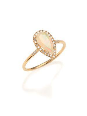 Kalan By Suzanne Kalan Soleil Opal, Diamond & 14k Yellow Gold Pear Ring