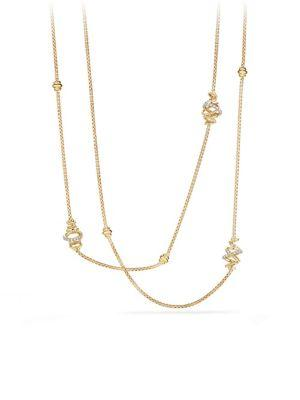 David Yurman Crossover Station Necklace With Diamonds In 18k Gold