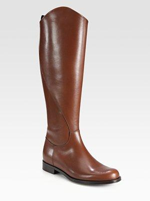 Leather Flat Knee-high Riding Boots