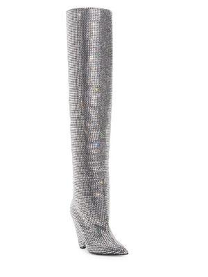 Saint Laurent Niki Over-the-knee Crystal Boots