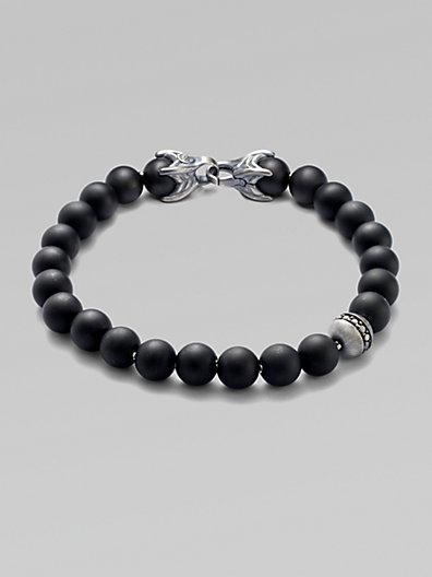 David Yurman Spiritual Bead Bracelet/onyx & Diamond