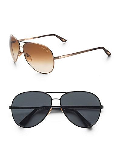 Tom Ford Eyewear Charles Metal Aviator Sunglasses