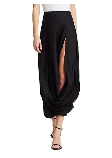 Jacquemus Nahil Draped Front Slit Midi Skirt