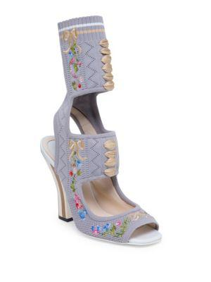 Fendi Floral-embroidered Knit Sandals