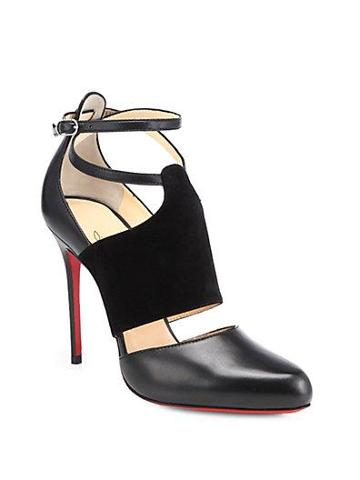 Christian Louboutin Trotter Leather & Suede Ankle-strap Pumps