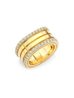 Roberto Coin Diamond & 18k Yellow Gold Double-row Band Ring