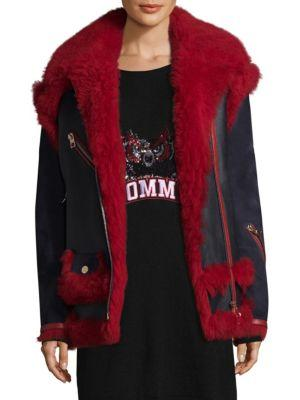 Tommy Hilfiger Collection Oversize Leather & Sheepskin Biker Coat
