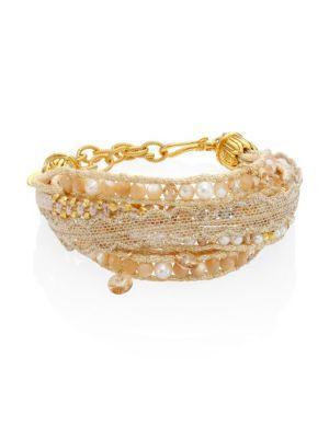 Chan Luu 3-4 White Freshwater Pearl & Natural Mix Multi-layer Bracelet
