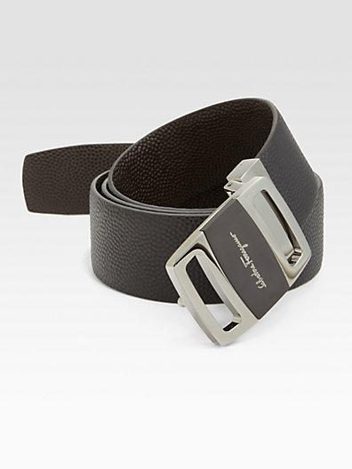 Salvatore Ferragamo Reversible Pebbled Leather Belt