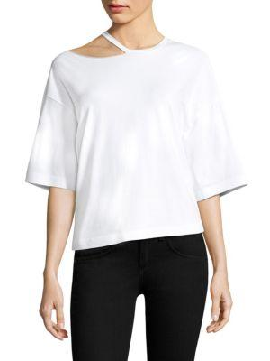 Kendall + Kylie Distressed Cutout Tee