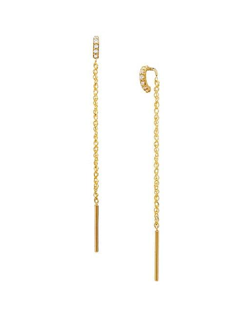 Celara 14k Yellow Gold & Diamond Threader Earrings