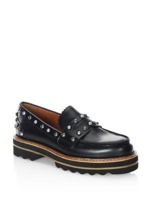 Coach Lenox Studded Leather Platform Loafers