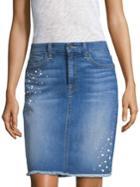 Jen7 By 7 For All Mankind Embellished Denim Pencil Skirt