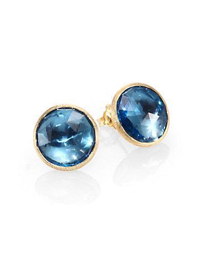 Marco Bicego Jaipur Blue Topaz & 18k Yellow Gold Stud Earrings