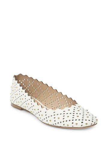 Chloe Lauren Perforated & Studded Leather Ballet Flats