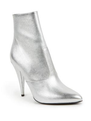 Saint Laurent Metallic Leather Point-toe Booties