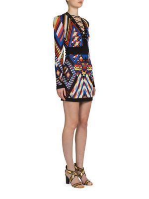 Balmain Geometric Lace-up Dress