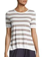 Peserico Striped Ruffle Back Knit Top
