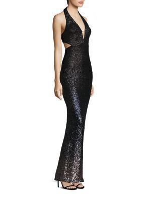 Abs Ombre Sequin Halter Gown