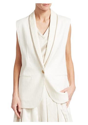 Brunello Cucinelli Sequined Shawl Collar Oversized Vest