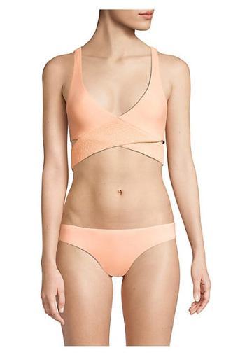 Pilyq Papaya Smocked Criss-cross Bikini Top