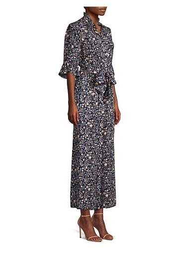 Rebecca Taylor Vivanna Floral Tie-waist Ruffled Silk Jumpsuit