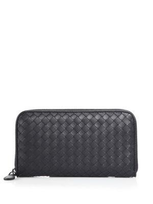 Bottega Veneta Intrecciato Zip Continental Leather Wallet