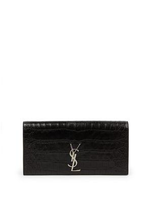 Saint Laurent Saint Laurent Monogram Crocodile-embossed Leather Clutch