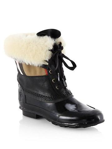 Burberry Danning Shearling Cuff Lace-up Boots
