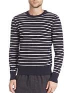 Ami Striped Crewneck Wool Sweater