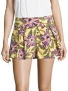 Redvalentino Pleated Floral-print Shorts
