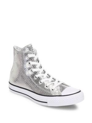 Converse Chuck Taylor All-star Snake-print Metallic Leather High-top Sneakers