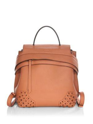 Tod's Small Wave Leather Cognac Backpack
