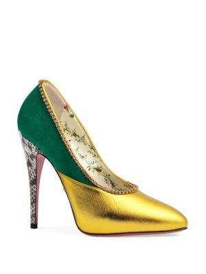 Gucci Peachy High Heel Leather Pumps