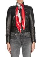 Balenciaga Silk Scarf Leather Biker Jacket