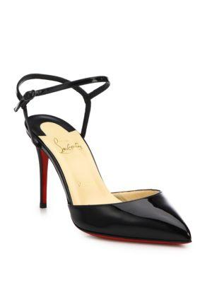 Christian Louboutin Patent Leather Ankle-strap Slingback Pumps