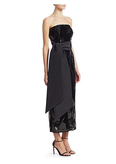 Brandon Maxwell Strapless Sequin Dress